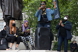 London, UK. 5th July, 2021. A speaker from Black Lives Matter addresses a Kill The Bill protest in Parliament Square against the Police, Crime, Sentencing and Courts (PCSC) Bill 2021 as MPs consider amendments to the Bill in the House of Commons. The PCSC Bill would grant the police a range of new discretionary powers to shut down protests.