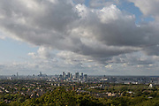 Views of central London from Severndroog Castle on the 6th October 2019 in London in the United Kingdom. Severndroog Castle is a folly situated in Oxleas Wood, on Shooters Hill in south-east London in the Royal Borough of Greenwich. It was designed by architect Richard Jupp, with the first stone laid on 2 April 1784.