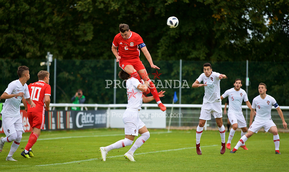 BANGOR, WALES - Tuesday, September 11, 2018: Wales' captain Regan Poole and Portugal's Jorge Fernandes during the UEFA Under-21 Championship Italy 2019 Qualifying Group B match between Wales and Portugal at the Nantporth Stadium. (Pic by David Rawcliffe/Propaganda)