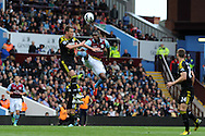 Aston Villa's Christian Benteke gets in a high footed challenge on Chelsea's John Terry (l), for which he is sent off for.  Barclays Premier League, Aston Villa v Chelsea at Villa Park in Birmingham on Saturday 11th May 2013. pic by Andrew Orchard,  Andrew Orchard sports photography,