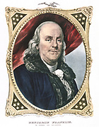 Benjamin Franklin (1706-90) American statesman, printer and scientist. Coloured lithograph by Currier and Ives.