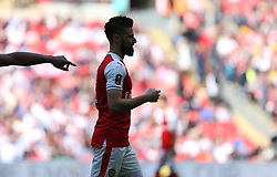 23 April 2017 FA Cup semi-final : Arsenal v Manchester City :<br /> a silhoette of the bearded Olivier Giroud of Arsenal.<br /> Photo: Mark Leech