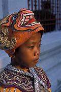 Thai boy wearing Khon (Mask) during King's Birthday celebration of Ramakien dance