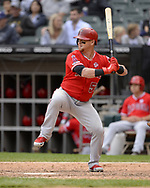 CHICAGO - SEPTEMBER 08:  Kole Calhoun #56 of the Los Angeles Angels bats against the Chicago White Sox on September 8, 2019 at Guaranteed Rate Field in Chicago, Illinois.  (Photo by Ron Vesely)  Subject:   Kole Calhoun