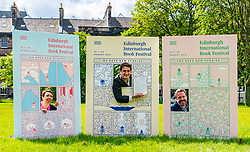 Pictured: International Book Festival Launch. Charlotte Square Gardens, Edinburgh, Scotland, United Kingdom, 06 June 2019. Janet Smyth, Children & Education Programme, Nick Barley, Director of Edinburgh International Book Festival & Roland Gulliver, Associate Director launch the 2019 Book Festival programme.<br /> <br /> Sally Anderson | EdinburghElitemedia.co.uk