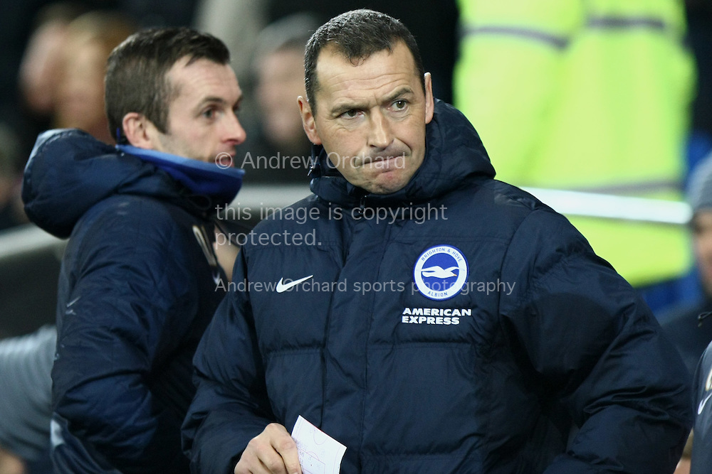 Brighton coach Colin Calderwood looks on before kick off.<br /> Skybet football league championship match, Cardiff City v Brighton & Hove Albion at the Cardiff city Stadium in Cardiff, South Wales on Tuesday 10th Feb 2015.<br /> pic by Mark Hawkins, Andrew Orchard sports photography.