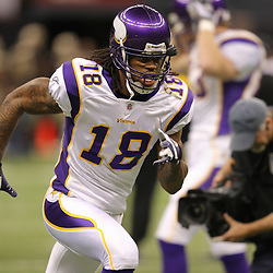 Jan 24, 2010; New Orleans, LA, USA; Minnesota Vikings wide receiver Sidney Rice (18) on the field during warm ups before kickoff of a overtime victory by New Orleans Saints over the Minnesota Vikings in the 2010 NFC Championship game at the Louisiana Superdome. Mandatory Credit: Derick E. Hingle-US PRESSWIRE