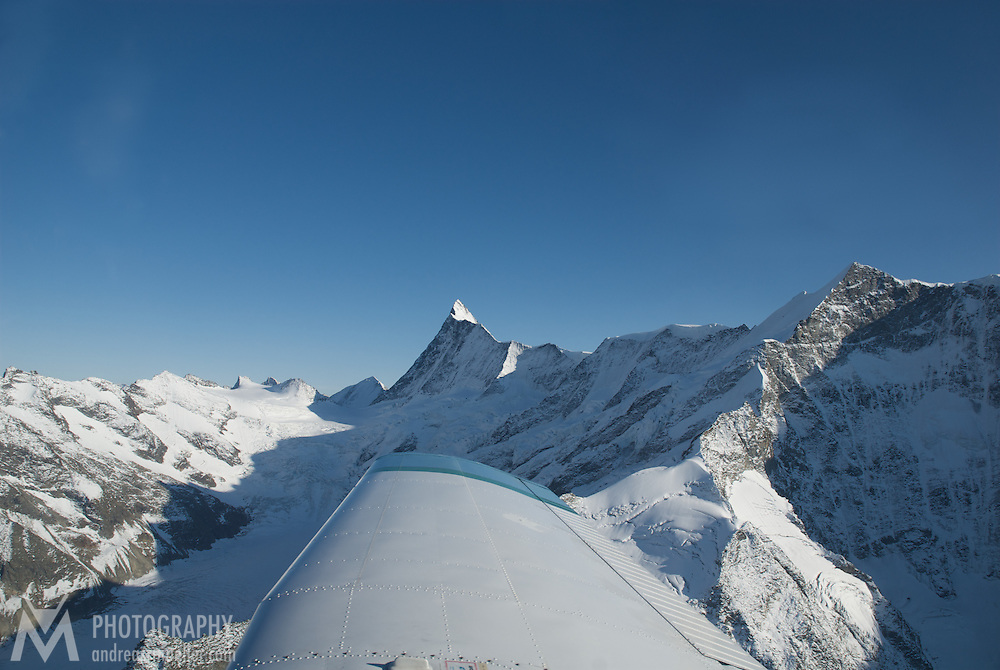 Aerial view of the Finsteraarhorn from a plane.
