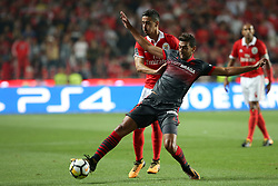 August 9, 2017 - Lisbon, Portugal - Braga's forward Ahmed Hassan (R ) vies with Benfica's Portuguese defender Andre Almeida during the Portuguese League football match SL Benfica vs SC Braga at Luz stadium in Lisbon on August 9, 2017 . Photo: Pedro Fiuza. (Credit Image: © Pedro Fiuza/NurPhoto via ZUMA Press)
