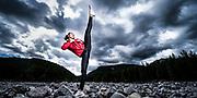 Tokyo-bound taekwondo athlete Skylar Park poses for a portrait at Porcupine Creek in Kananaskis Country, AB on August 8, 2020.