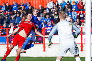 Portsmouth midfielder Ronan Curtis (11) heads against the post during the EFL Sky Bet League 1 match between Accrington Stanley and Portsmouth at the Fraser Eagle Stadium, Accrington, England on 27 October 2018.