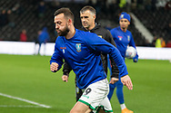 Steven Fletcher (9) warming up before the EFL Sky Bet Championship match between Derby County and Sheffield Wednesday at the Pride Park, Derby, England on 11 December 2019.