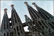 Spanje, Barcelona, 3-5-2005Sagrada Familia, Gaudi, oostelijke gevel. kerk, architectuur, bezienswaardigheid, toerisme, stedentrip, vakantie.Foto: Flip Franssen