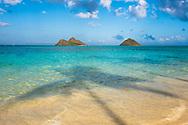 The Mokulua Islands, Lanikai Beach, Kailua Bay, Oahu, Hawaii