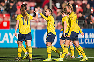 Jordan Hobbs (Arsenal) celebrates her goal with Lisa Evans (Arsenal) during the FA Women's Super League match between Brighton and Hove Albion Women and Arsenal Women FC at The People's Pension Stadium, Crawley, England on 12 January 2020.