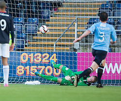 Dundee's sub keeper Dan Twardzik comes on and saves Falkirk's Mark Millar's penalty.<br /> Half time : Falkirk 1 v 0 Dundee, Scottish Championship game at The Falkirk Stadium.<br /> © Michael Schofield.