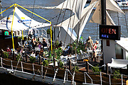 Scene of the River Thames, London. Running through the heart of the city. A restaurant boat.