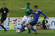 Dino Islamovic of Bosnia and Herzegovina (3) challenges Nathan Collins of Republic of Ireland (5) during the UEFA European Under 17 Championship 2018 match between Bosnia and Republic of Ireland at Stadion Bilino Polje, Zenica, Bosnia and Herzegovina on 11 May 2018. Picture by Mick Haynes.