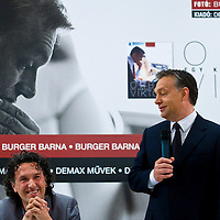 Barna Burger (L) and Viktor Orban (R) attends the official premier of the photo book by Barna Burger covering the victorious election campaign of Hungarian opposition leader Viktor Orban that led him to becoming prime minister. Budapest, Hungary. Thursday, 29. April 2010. ATTILA VOLGYI