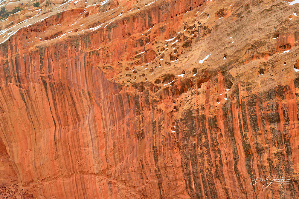 Grand Wash canyon walls in winter, with desert varnish, Capitol Reef National Park, Utah, USA
