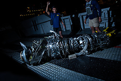 November 3, 2018 - Norht Jakarta, Jakarta, Indonesia - Lion Air Plane crash Turbine Engine were retrieved from Karawang Sea. The engine will be delivered to Indonesian Transportation Safety Committe for investigation. (Credit Image: © Donal Husni/ZUMA Wire)