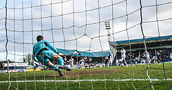 Raith Rovers Callum Booth scoring their second goal from the penalty spot.<br /> Raith Rovers 2 v 4 Falkirk, Scottish Championship game today at Starks Park.<br /> © Michael Schofield.
