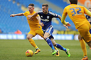 Cardiff City's Joe Ralls (c) takes on Preston's Alan Browne (l). Skybet football league championship match, Cardiff city v Preston NE at the Cardiff city stadium in Cardiff, South Wales on Saturday 27th Feb 2016.<br /> pic by Carl Robertson, Andrew Orchard sports photography.