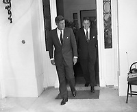 IND95220<br /> American President John Fitzgerald Kennedy (JFK)'s visit to Ireland, Sean Lemass with President Kennedy leaving the US Embassy in Dublin after talks with An Taoiseach Sean Lemass,The President then left for a visit to his ancestral home in Wexford, 27/06/1963 (Part of the Independent Newspapers Ireland/NLI Collection).