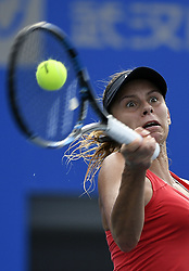 Sept. 24, 2017 - Wuhan, Hubei, China - MAGDA LINETTE of Poland returns the ball during her first round Women's Singles match against A. Kontaveit at the WTA Wuhan Open. Linette won 2-0. (Credit Image: © Wang Peng/Xinhua via ZUMA Wire)