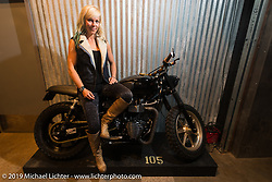 Jessi Combs on Saturday at the Handbuilt Motorcycle Show. Austin, TX. April 11, 2015.  Photography ©2015 Michael Lichter.