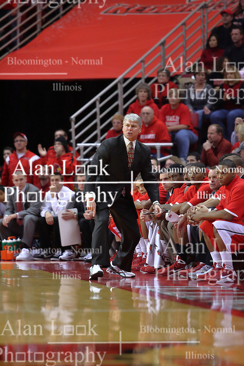 """31 January 2009: Braves Coach Jim Les gets a bit animated when things don't proceed quite like he envisioned. The Illinois State University Redbirds join the Bradley Braves in a tie for 2nd place in """"The Valley"""" with a 69-65 win on Doug Collins Court inside Redbird Arena on the campus of Illinois State University in Normal Illinois"""