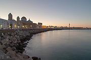 Cádiz Cathedral, waterside promenade, Cadiz,Spain