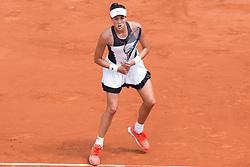 Garbine Mugura plays. Garbine Mugura VS Yulia Putintseva, Garbine Mugura Win during French Tennis Open at Roland-Garros arena on June 02, 2017 in Paris, France. Photo by Nasser Berzane/ABACAPRESS.COM