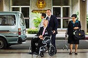 08 AUGUST 2014 - BANGKOK, THAILAND:   SOMPORN THEPSITTHA, 89, the most senior member of the National Legislative Assembly, arrives the NLA meeting. The Thai National Legislative Assembly (NLA) met Friday at the Parlimanet Building in Bangkok to elect legislative leadership. The NLA was appointed by the Thai junta, formally called the National Council for Peace and Order (NCPO), and is supposed to guide Thailand back to civilian rule after a military coup overthrew the elected government in May. There are 197 members of the NLA. Membership is tilted towards military personnel. From the Royal Thai Army 40 members are Generals, 21 are Lt. Generals and 7 are Major Generals. From the Royal Thai Air Force 17 are Air Chief Marshals and 2 are Air Marshals. From the Royal Thai Navy, 14 are Admirals and 5 are Vice Admirals. There are also 6 Police Generals and 3 Police Lt. Generals. There are 187 men in the NLA and only 10 women.      PHOTO BY JACK KURTZ