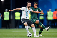 Argentina forwarder Gonzalo Higuain (L) and Nigeria defender William Ekong (R) during the 2018 FIFA World Cup Russia, Group D football match between Nigeria and Argentina on June 26, 2018 at Saint Petersburg Stadium in Saint Petersburg, Russia - Photo Stanley Gontha / Pro Shots / ProSportsImages / DPPI