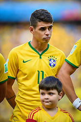Oscar Emboaba na partida entre Brasil x Colombia, válida pelas quartas de final da Copa do Mundo 2014, no Estádio Castelão, em Fortaleza-CE. FOTO: Jefferson Bernardes/ Vipcomm