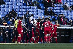 January 20, 2018 - Barcelona, Spain - BARCELONA, SPAIN - JANUARY 20: Sevilla FC celebrating the victory during La Liga match between RCD Espanyol v Sevilla FC at RCD Stadium in Barcelona on 20 of January, 2018. (Credit Image: © Xavier Bonilla/NurPhoto via ZUMA Press)