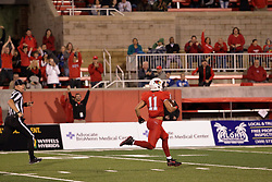 NORMAL, IL - September 08: Spencer Schnell passing the 10 yard line with no opponents even close as he completes a 97 yard pass reception and touchdown run during 107th Mid-America Classic college football game between the ISU (Illinois State University) Redbirds and the Eastern Illinois Panthers on September 08 2018 at Hancock Stadium in Normal, IL. (Photo by Alan Look)