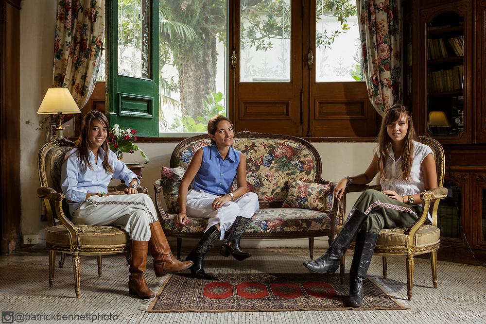 The ladies of the house in their equestrian attire at Estancia La Oriental, Junin, Argentina.