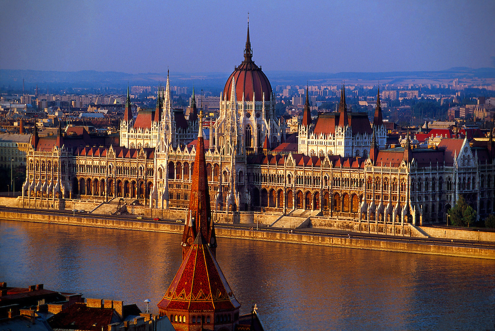 The Parliament Building on the Danube River, Budapest, Hungary