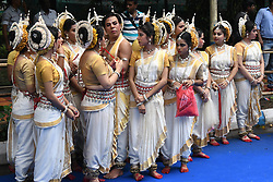 July 3, 2017 - Kolkata, India - Odissi dancer  wait to perform on the last day of the week long Rathyatra  celebration  of Lode Jagannath's Rath Yatra on July 03,2107 in Kolkata,India. (Credit Image: © Debajyoti Chakraborty/NurPhoto via ZUMA Press)