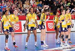 Players of Metz at handball match of Round 5 of Champions League between RK Krim Mercator and Metz Handball, France, on January 9, 2010 in Kodeljevo, Ljubljana, Slovenia. (Photo by Vid Ponikvar / Sportida)