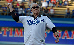 June 10, 2017 - Los Angeles, California, U.S. - Former Los Angeles Dodgers General Manager Fred Clair throws out the ceremonial pitch prior to a Major League baseball game at Dodger Stadium on Saturday, June 10, 2017 in Los Angeles. (Photo by Keith Birmingham, Pasadena Star-News/SCNG) (Credit Image: © San Gabriel Valley Tribune via ZUMA Wire)