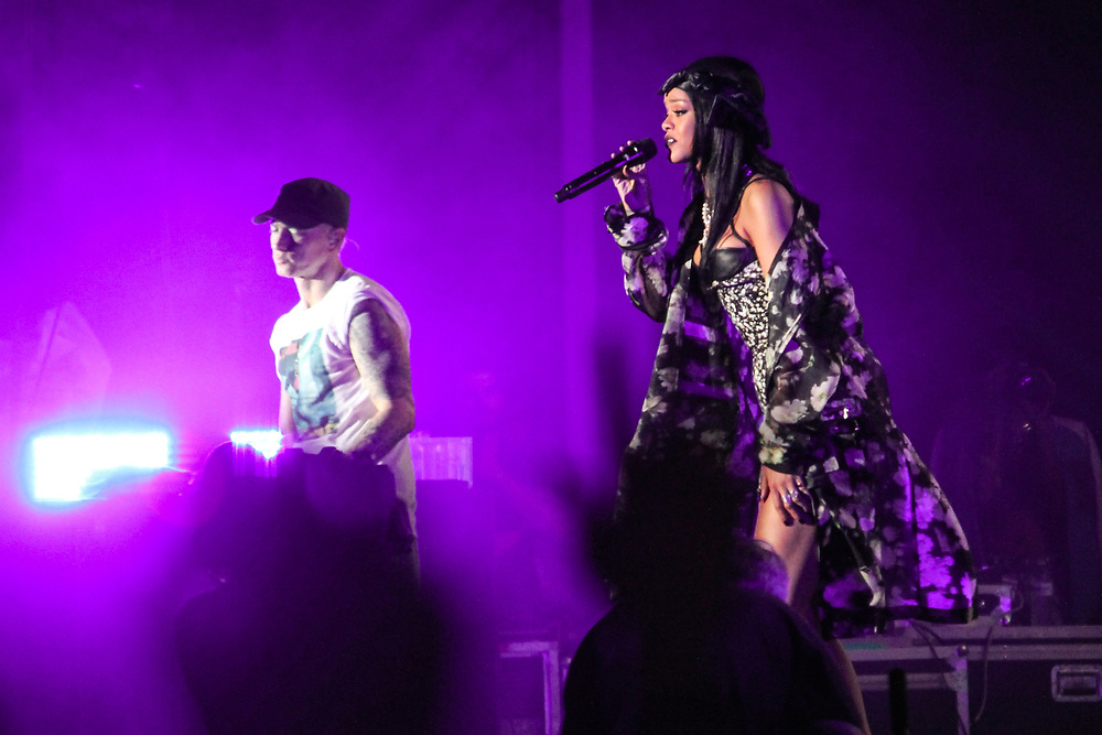 Eminem performs at Lollapalooza with Rihanna on August 1, 2014.