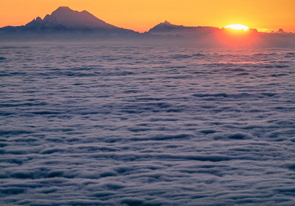 Mount Baker and Mount Shuksan, telephoto view from Blue Mountain, sunrise, Olympic National Park, Washington, USA
