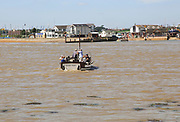 Ferry boat at mouth River Deben, Bawdsey Quay, Suffolk, England looking to Felixstowe Ferry