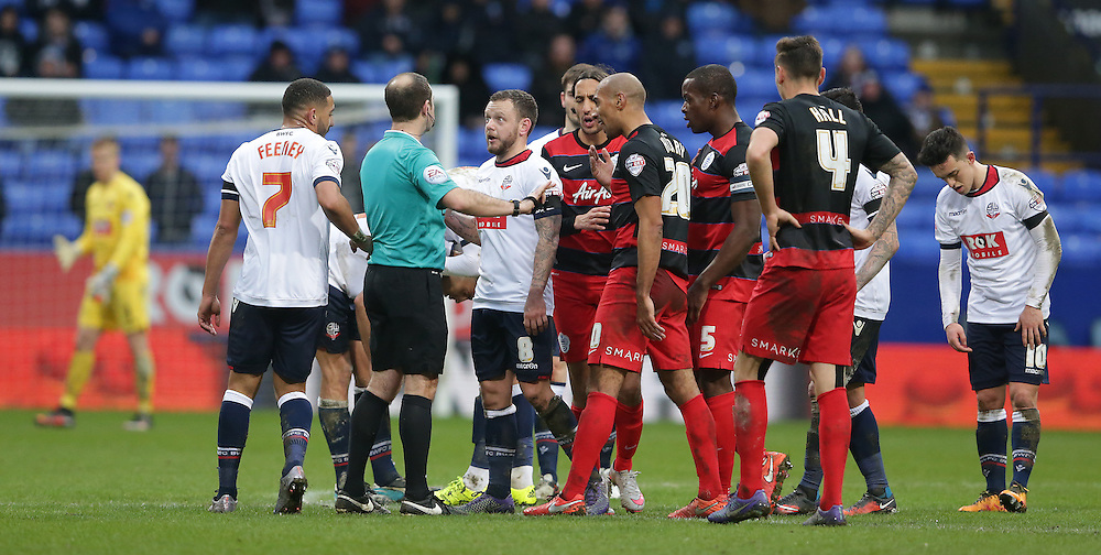 Bolton Wanderers' Jay Spearing in talks with Referee Jeremy Simpson<br /> <br /> Photographer Stephen White/CameraSport<br /> <br /> Football - The Football League Sky Bet Championship - Bolton Wanderers v Queens Park Rangers - Saturday 20th February 2016 - Macron Stadium - Bolton <br /> <br /> © CameraSport - 43 Linden Ave. Countesthorpe. Leicester. England. LE8 5PG - Tel: +44 (0) 116 277 4147 - admin@camerasport.com - www.camerasport.com