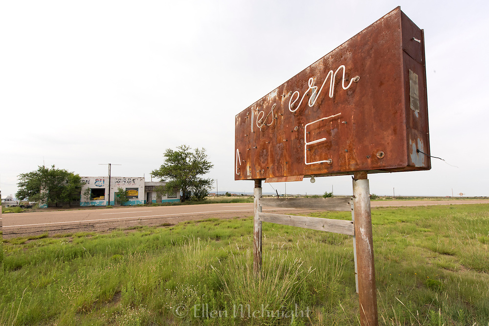 Abandoned store and old sign on Route 66 in New Mexico