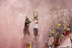 September 27, 2017 - Harrison, New Jersey, United States - Red Bulls fans celebrate 2nd goal by Tyler Adams (not pictured) during regular MLS game against DC United at Red Bull Arena Game ended in draw 3 - 3  (Credit Image: © Lev Radin/Pacific Press via ZUMA Wire)