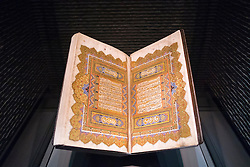 Old Koran on display at  Museum of Islamic Art in Doha Qatar